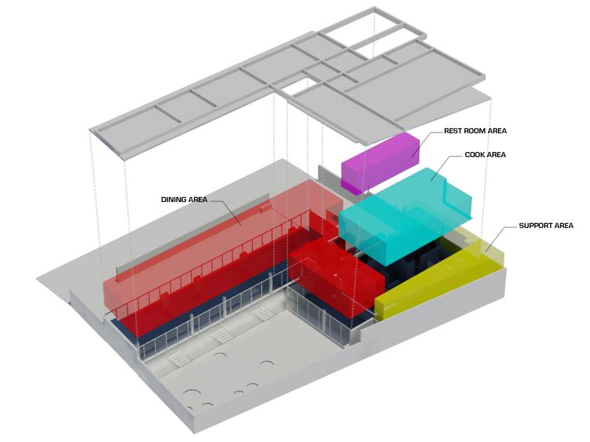 Restaurante mercat 01 arquitectos chile propuestas in for Zonificacion arquitectonica