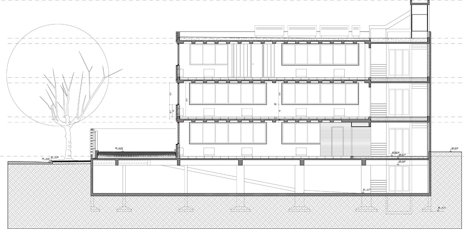 Edificio de oficinas para alquiler ccdh ignacio montaldo for Cortes arquitectonicos