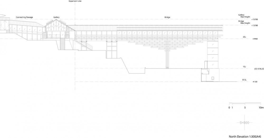 Yusuhara, Museo Puente de Madera / Kengo Kuma & Associates (11) Elevación Norte