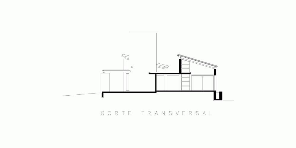 Casa En El Rio Limay / FKB Arquitectos Corte Transversal