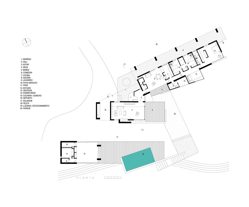 Casa En El Rio Limay / FKB Arquitectos Planta