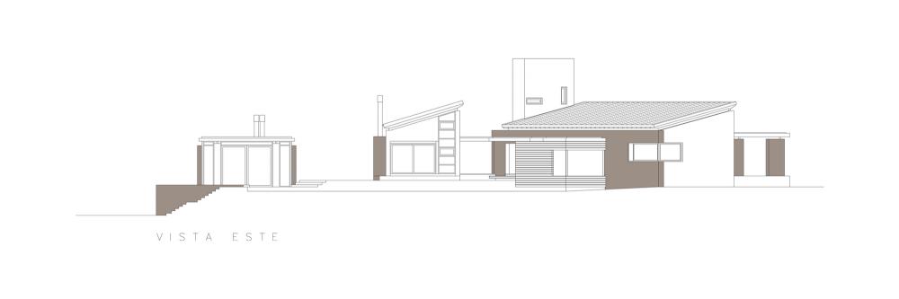 Casa En El Rio Limay / FKB Arquitectos Elevación Este