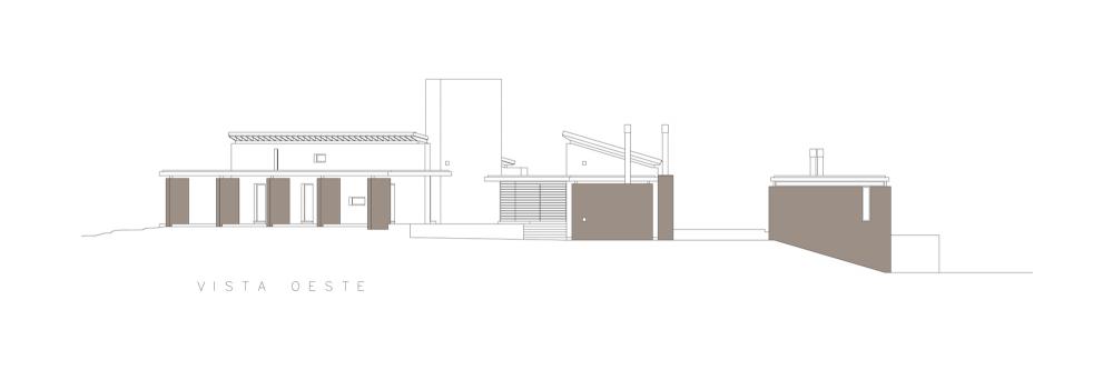 Casa En El Rio Limay / FKB Arquitectos Elevación Oeste