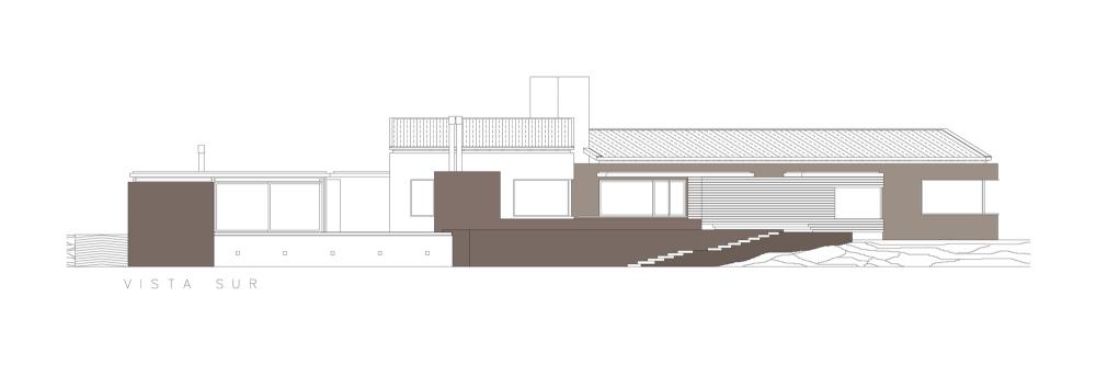 Casa En El Rio Limay / FKB Arquitectos Elevación Sur